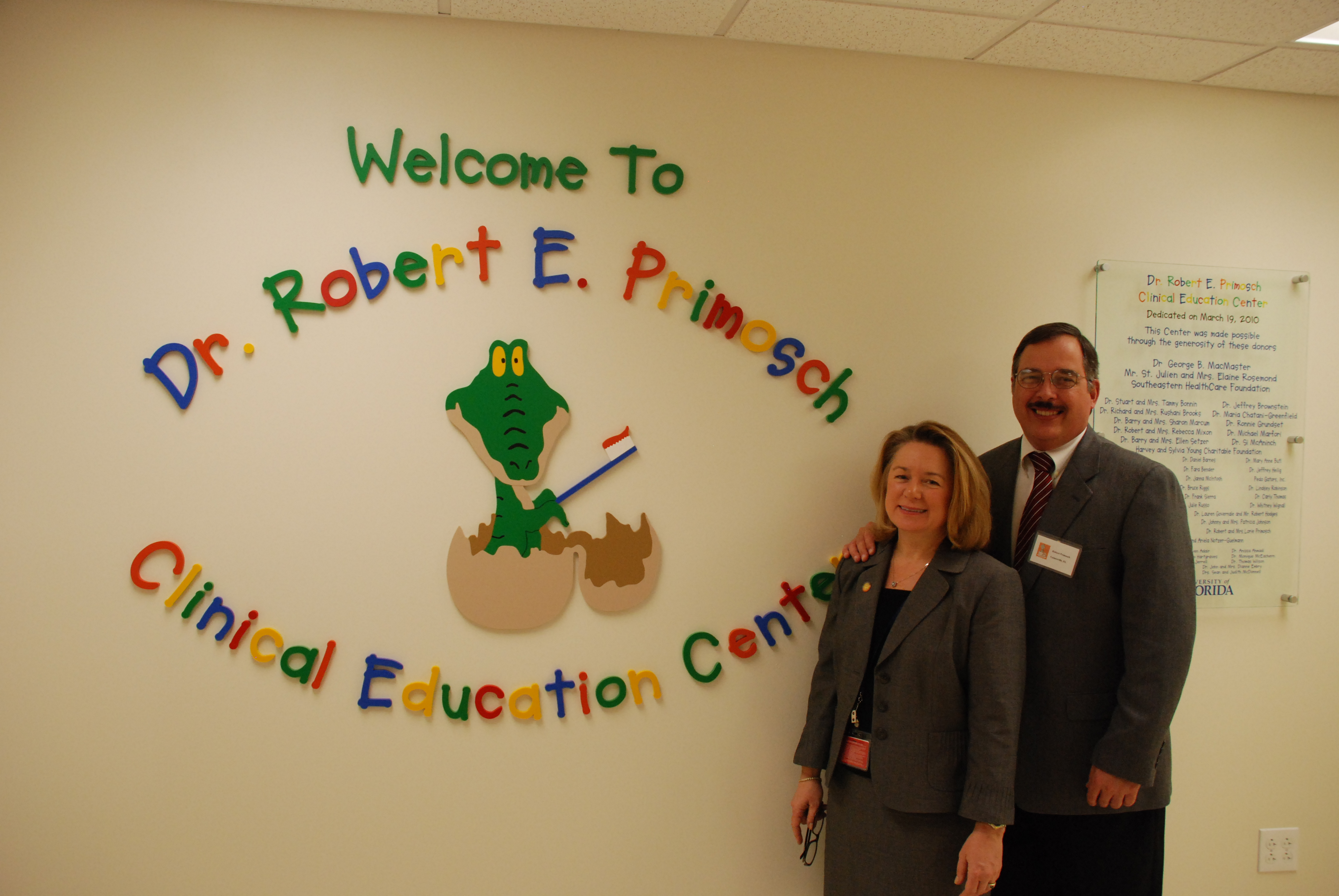 Dean Teresa A. Dolan and Dr. Robert E. Primosch, Pediatric Dental Professor and Associate Dean for Education; Photo courtesy of the University of Florida