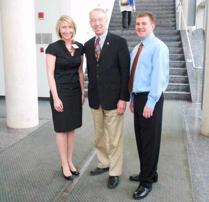 Ms. Lindsay Harshman, Senator Chuck Grassley, and Mr. Ryan Walsh (D3) at the University of Iowa discuss the interprofessional impact of health care reform.