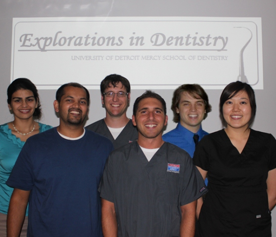 Explorations in Dentistry Students (from left to right): Shagun Octain, Punit Shah, Michael J. Vilag, Sarmad Askar, Cole Smith, Jenna Lau. Photo courtesy UDM.
