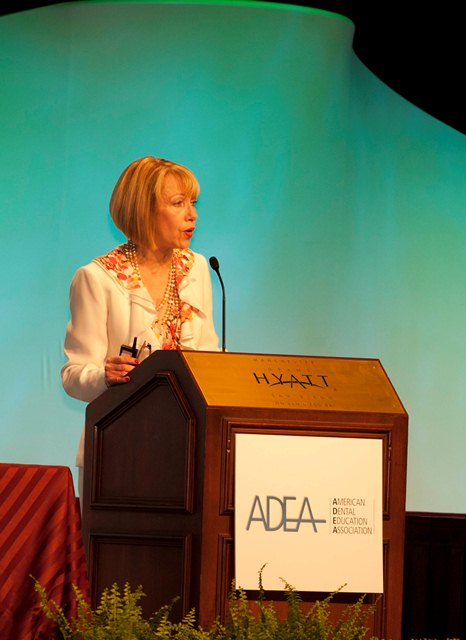 ADEA President Sandra C. Andrieu addresses a packed house regarding models of interprofessional curriculum.