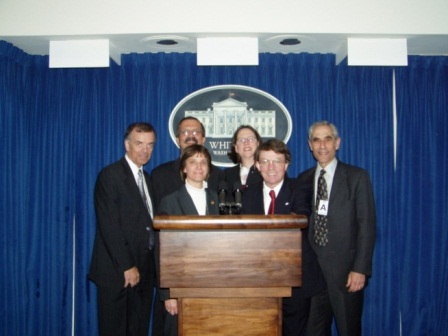 In the Press Room during a private tour of the White House on an earlier AADR-ADEA Deans' Advocacy Day. Back row (from right to left):  Dr. Ronald J. Hunt, Associate Dean for Academic Affairs and Professor, Midwestern University College of Dental Medicine-Arizona; Dr. Huw F. Thomas, Dean, University of Alabama at Birmingham School of Dentistry; Dr. Sharon P. Turner, Dean, University of Kentucky College of Dentistry; and Dr. Lawrence I. Goldblatt, University of Indiana School of Dentistry. Front row:  Dr. Cecile A. Feldman, Dean, University of Medicine and Dentistry New Jersey New Jersey Dental School, and Dr. Eric J. Hovland, Louisiana State University School of Dentistry.