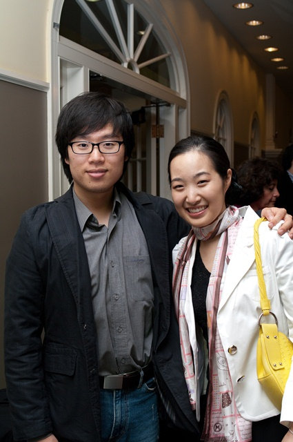 Mr. Jun Hwang and his sister Ms. Jung-Mee Hwang attending Ms. Hwang's concert with Dudley Orchestra at Harvard Square, Cambridge, Massachussets. (Photo courtesy Mr. Hwang)