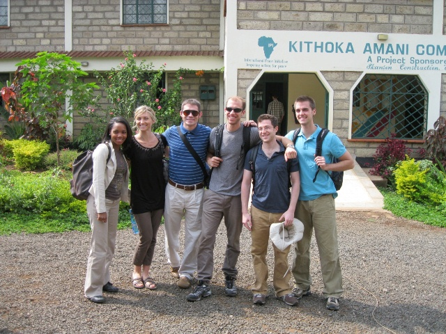 D2 dental students in front of Kithoka Amani Community Home for children orphaned by HIV/AIDS (from left; Ashley Green, Jami Ballantine, Aaron Ruhlig, Jesse Plummer, Mark Shallal-Ayzin); Photo courtesy University of Michigan