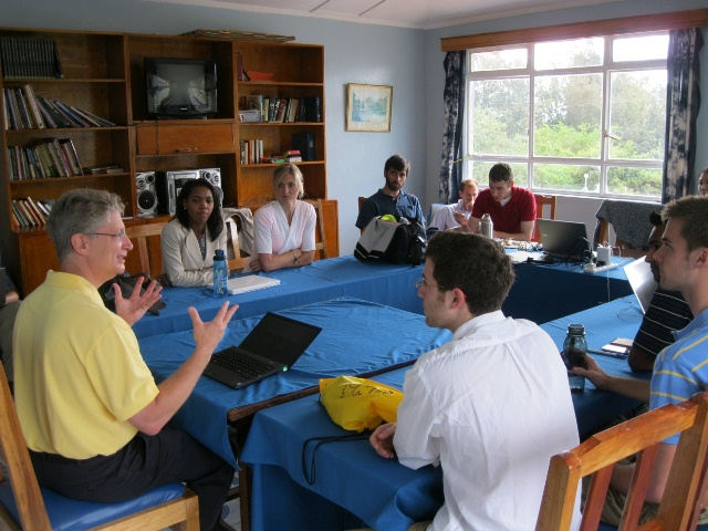 Students working with faculty to develop oral and general health surveys at the Thiiri Center in Meru, Kenya; Photo courtesy University of Michigan