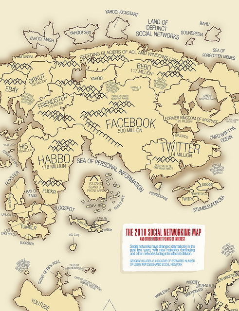 The 2010 Social Networking Map, by lucassevilla; used via Creative Commons