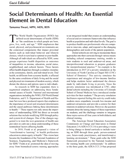 Social Determinants of Health: An Essential Element in Dental Education