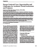 Person-Centered Care: Opportunities and Challenges for Academic Dental Institutions and Programs